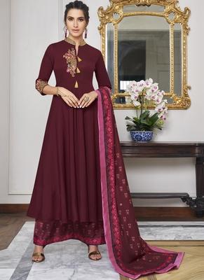 maroon embroidered silk blend party wear salwar kameez
