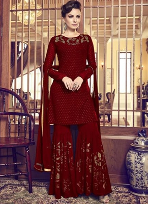 Maroon Embroidered Georgette Sharara