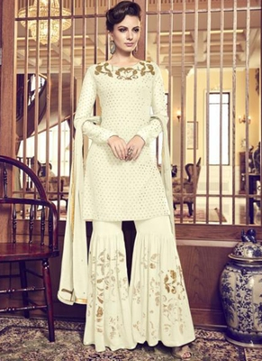 White Embroidered Georgette Sharara