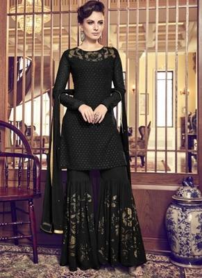 black embroidered georgette sharara