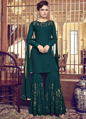 Green Embroidered Georgette Sharara