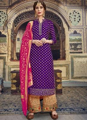 purple embroidered banarasi party wear salwar kameez