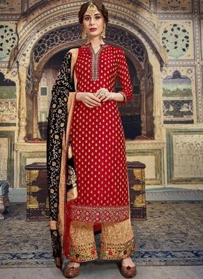 red embroidered banarasi party wear salwar kameez