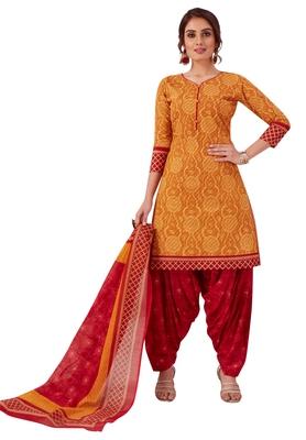 Gold printed cotton salwar