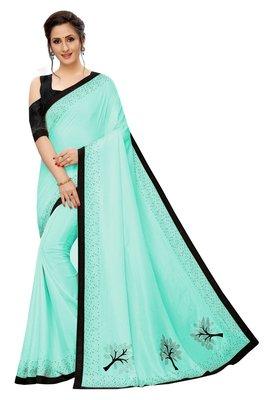 Sky blue plain art silk saree with blouse