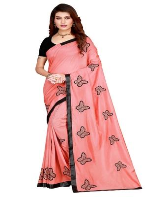 Pink printed silk saree with blouse