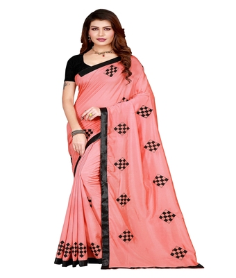 Pink printed silk saree with blouse