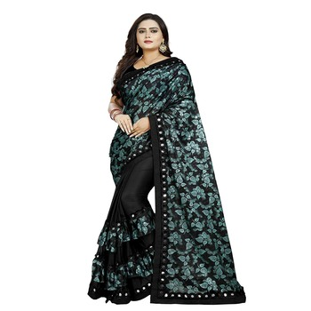 Black printed silk saree with blouse