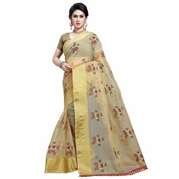 Chiku embroidered organza saree with blouse