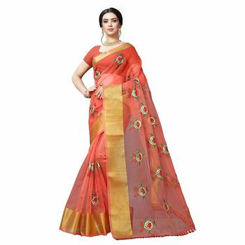 Red embroidered organza saree with blouse