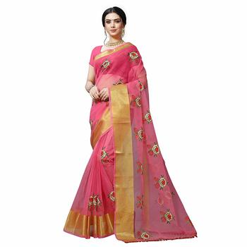 Pink embroidered organza saree with blouse