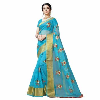 Sky blue embroidered organza saree with blouse