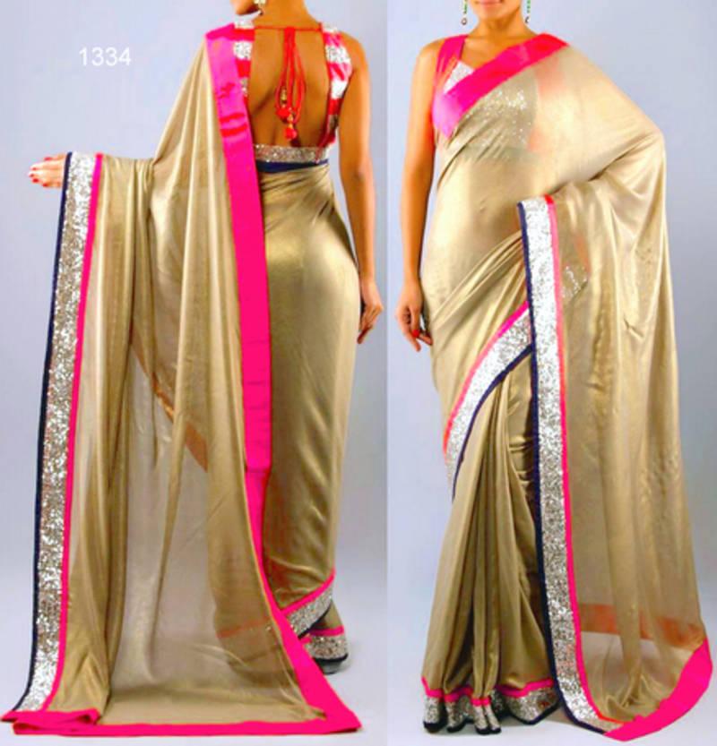 ebea9af493637 golden plain georgette saree with blouse - Manjula Feb - 434036