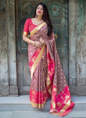 Mauve woven silk blend saree with blouse
