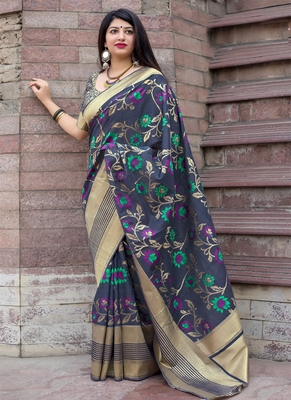 Light navy blue woven silk blend saree with blouse