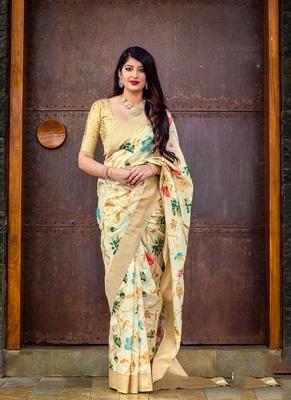 cream woven silk saree with blouse