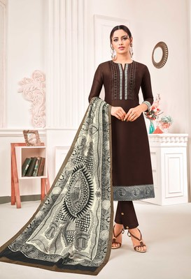Brown digital print art silk salwar