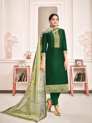 Green digital print art silk salwar