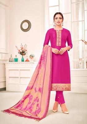 Pink digital print art silk salwar