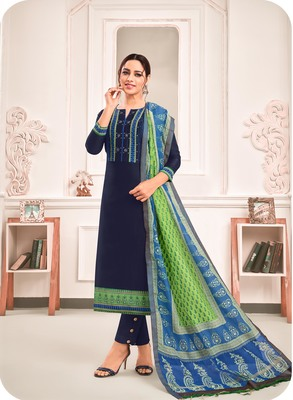 Navy-blue digital print art silk salwar