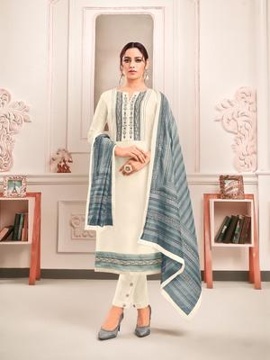 Off-white digital print art silk salwar