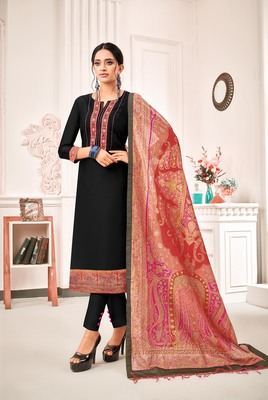 Black digital print art silk salwar