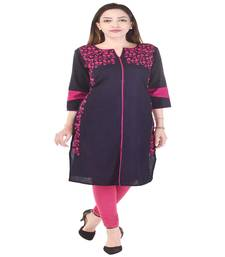 Purple  Embroidered Cotton Kurti