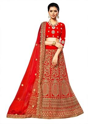 Red embroidered velvet semi stitched lehenga