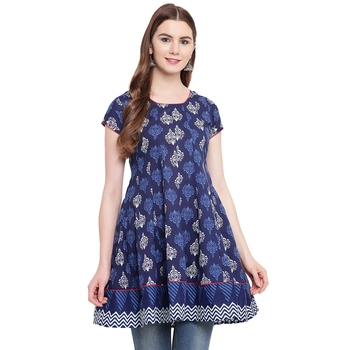 Blue printed cotton short-kurtis