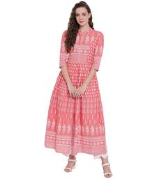 Pink printed cotton long-kurtis