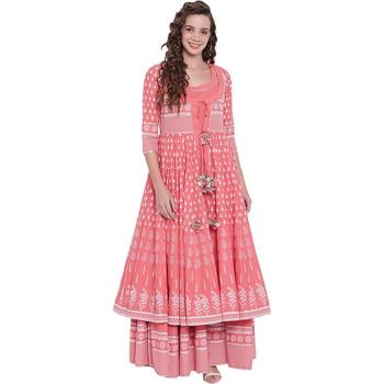 Pink printed cotton long-kurtis