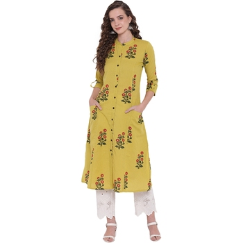 Lemon printed cotton ethnic-kurtis