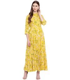 Yellow printed viscose rayon ethnic-kurtis