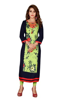 Multicolor plain rayon ethnic-kurtis
