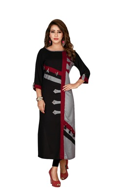 Brown plain rayon ethnic-kurtis