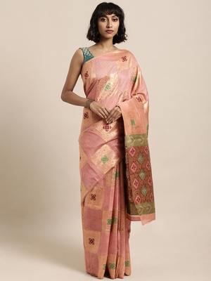 Peach printed linen saree with blouse
