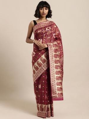 Maroon printed organza saree with blouse