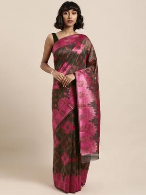Multicolor printed organza saree with blouse