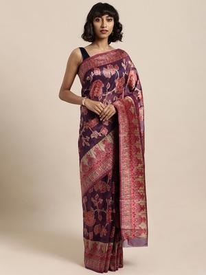 Purple printed organza saree with blouse