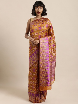 Mustard printed organza saree with blouse