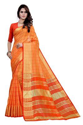 Blissta Orange Cotton Border Work Checks Pattern Saree With Contrast Color Blouse