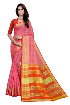 Light pink printed cotton saree with blouse