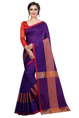 Blissta Purple Cotton Boder Work  Plain Saree With Contrast Color Blouse