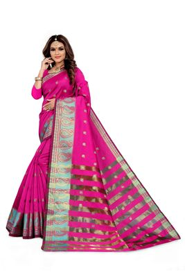 Pink woven silk blend saree with blouse