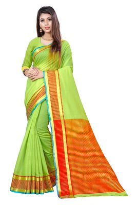 Light green woven cotton saree with blouse