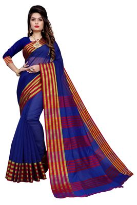 Navy blue plain manipuri silk saree with blouse