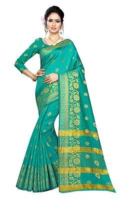 Blissta Turquoise Silk Blend Border Work Jacquard Butti Saree With Running Blouse