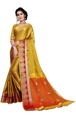 Gold woven cotton silk saree with blouse