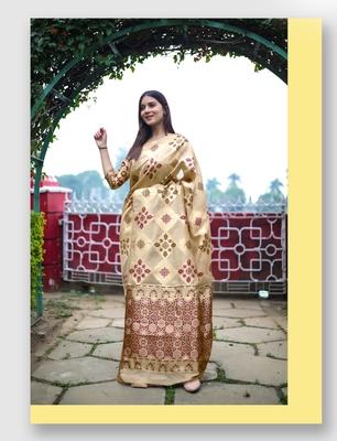 Gold woven art silk saree with blouse