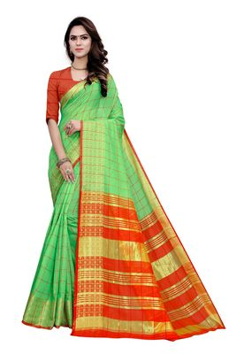 Light green printed cotton saree with blouse